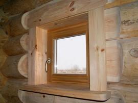 Окна из дерева со стеклопакетом для бани, сауны, парилки