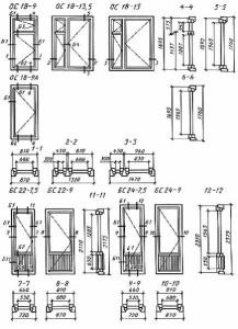 Конструкция, форма, основные размеры и марки окон и балконных дверей жилых зданий