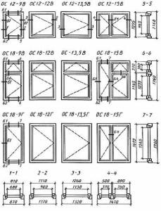 Черт. 5 Конструкция, форма, основные размеры и марки окон и балконных дверей общественных зданий